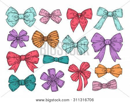 Color Bows. Sketch Fashion Tie Bow Accessories Hand Drawn Doodles Tied Ribbons. Retro Isolated Vecto