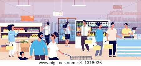 People In Grocery Store. Customers Buying Food In Supermarket. Shopping Customers Choosing Products.