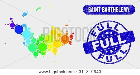Rainbow Colored Dot Saint Barthelemy Map And Stamps. Blue Round Full Grunge Watermark. Gradiented Ra