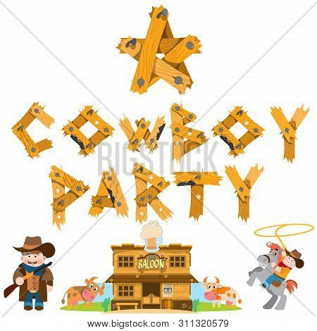 Rodeo. Cowboy Party. Saloon. Set Of Of Illustrations On The Theme Of The Wild West For Design.