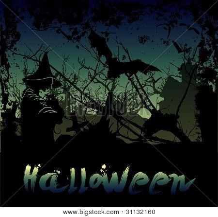 Halloween achtergrond met heks en hounted-huis in het donker