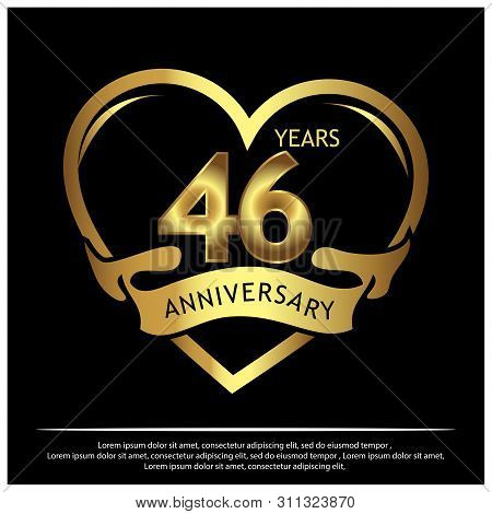 46 Years Anniversary Golden. Anniversary Template Design For Poster, Booklet, Leaflet, And Flyer.