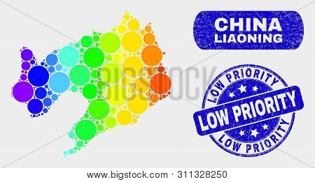 Spectral Dot Liaoning Province Map And Seal Stamps. Blue Round Low Priority Scratched Seal Stamp. Gr