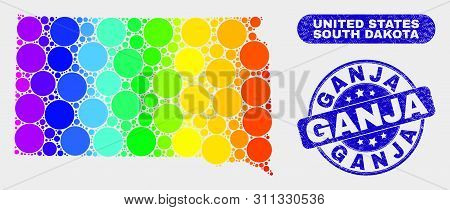 Spectral Dotted South Dakota State Map And Rubber Prints. Blue Rounded Ganja Grunge Seal Stamp. Grad