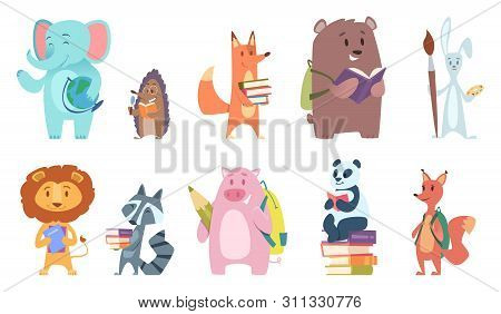 School Animals. Funny Zoo Kids With Backpacks And Other School Equipment Squirrel Elephant Bear Fox