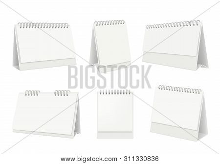Blank Table Calendar. Desktop Organizer With White Paper Pages Vector Realistic Mockup. Office Page