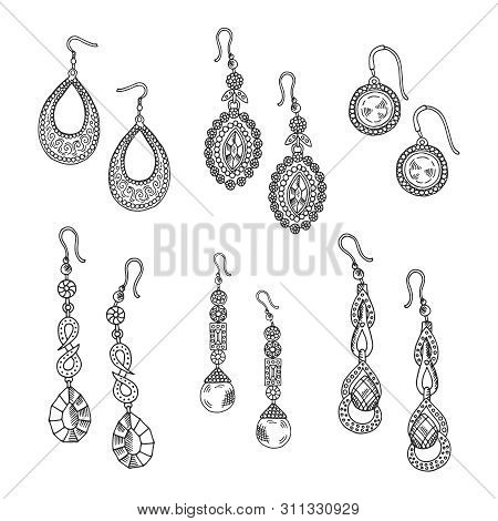 Hand Drawn Earrings Set - Vector Jewelry Isolated On White Background. Earrings With Jewelry Diamond