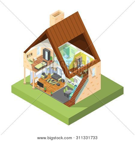 House Cutaway Isometric. Interior Of Modern House With Different Rooms With Furniture Vector Picture