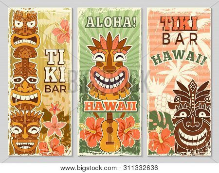 Hawaii Retro Banners. Aloha Tourism Summer Adventure Dancing Party In Tiki Bar Tribal Masks Vector I