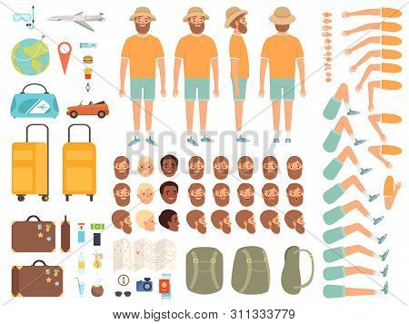 Tourist Constructor. Male Character Body Parts Suitcase Tickets And Other Items For Travelling Vecto