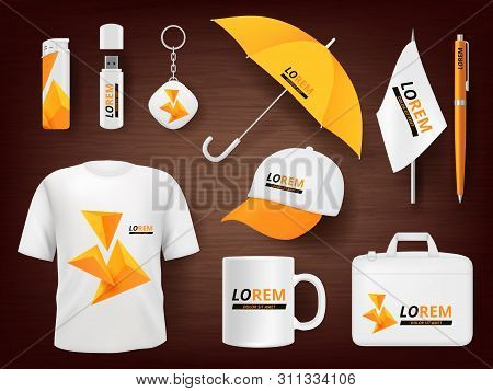Identity. Business Corporate Souvenir Promotion Stationery Items Uniform Badges Packages Pen Lighter