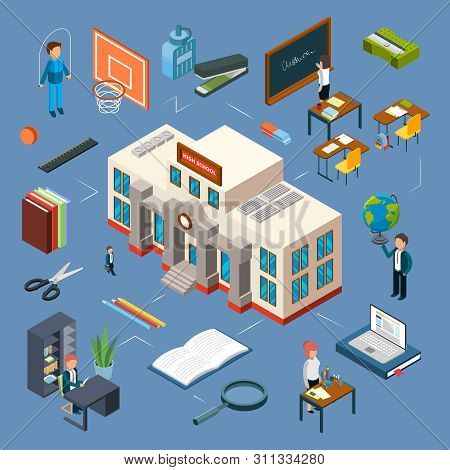 High School Isometric Vector Illustration. 3d School Building, Classroom, Teachers, Books, Stationer