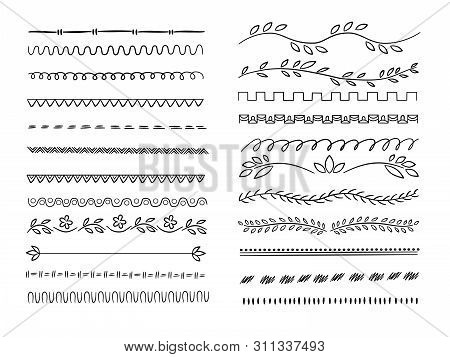Hand Drawn Lines. Web Dividers Hatching Pencil Scribble Vector Underlines. Set Of Underline Drawn, S