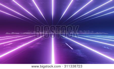Abstract Night City 3d Illustration With Neon Glow