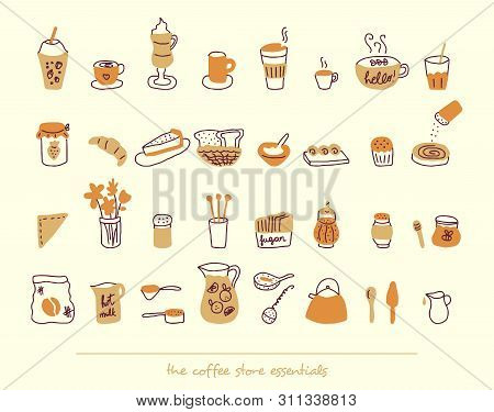 Coffee Store Essential Elements With Warm Colors In Light Background. Brunch, Teatime, Breakfast, Ba