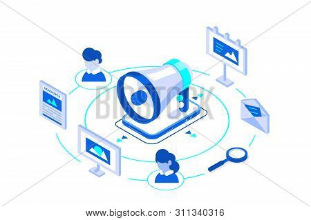 Outbound Marketing Business Illustration Isometric. Offline Or Interruption Marketing. Megaphone For