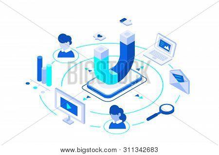 Inbound Marketing Vector Business. Online Or Permission Digital Marketing. Magnet As Product. Elemen