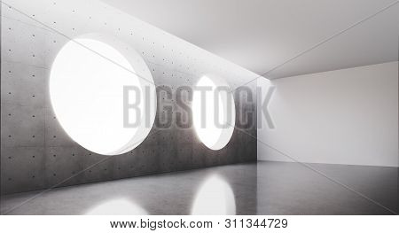 Contemporary And Futuristic Interior With Round Window In Center Of Concret Wall And Reflections On