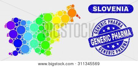 Rainbow Colored Dot Slovenia Map And Rubber Prints. Blue Round Generic Pharma Grunge Stamp. Gradient