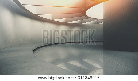 Contemporary And Futuristic Empty Interior With Natural Light On Concret Wall And Reflections On The