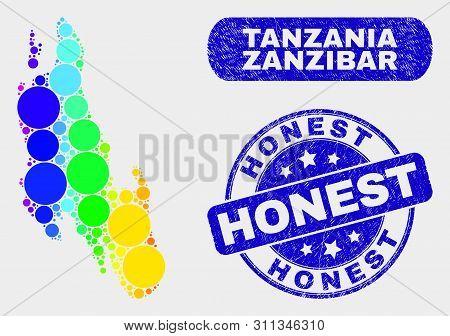 Spectral Dotted Zanzibar Island Map And Watermarks. Blue Round Honest Scratched Seal Stamp. Gradient