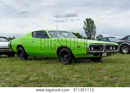 Paaren Im Glien, Germany - June 08, 2019: Mid-size Car Dodge Charger 500, 1971. Die Oldtimer Show 20