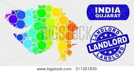 Rainbow Colored Dot Gujarat State Map And Seal Stamps. Blue Round Landlord Grunge Seal. Gradiented S