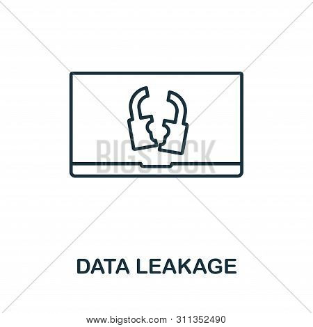 Data Leakage Icon. Thin Outline Style Design From Corruption Icons Collection. Creative Data Leakage