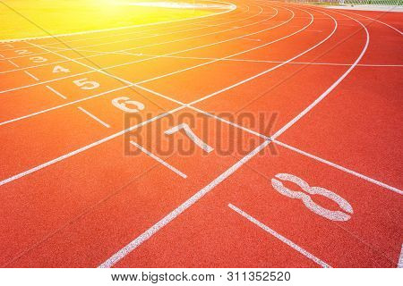 White Lines Of Stadium And Texture Of Running Racetrack Red Rubber Racetracks In Outdoor Stadium Are