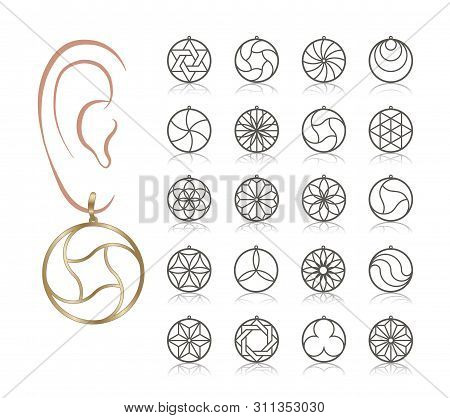 20 Earring Vector Templates. Cutout Silhouettes Like Hoop  Circle. Design Is Suitable For Creating D