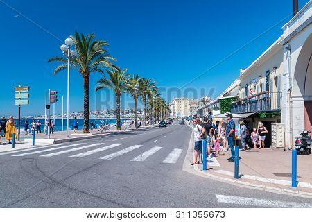 Nice, France - June 2, 2019: View Of Quai Des Etats-unis Street.