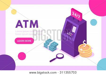 Concept Atm For Web Page, Banner, Presentation, Social Media. Vector Illustration, Money. Banknotes
