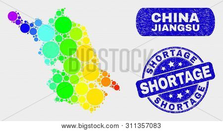 Spectral Dotted Jiangsu Province Map And Rubber Prints. Blue Round Shortage Distress Seal. Gradiente