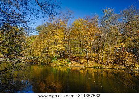 Nice Autumn Panorama Of Sofiyivka Park Lake Ukraine Uman Rainbow Nature Gold Water