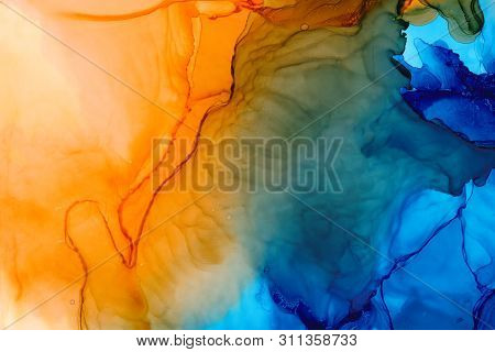 Mixed Colors Watercolor Texture Background. Hand Drawn Orange And Navy Smears, Splashes Abstract Bac