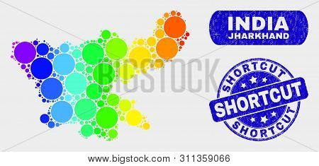 Spectral Dotted Jharkhand State Map And Rubber Prints. Blue Rounded Shortcut Grunge Seal. Gradiented