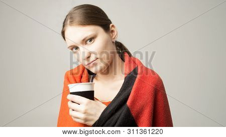Ill Young Woman Feeling Cold Having Flu Grippe Symptoms Covered With Blanket, Sick Teen Girl Shiveri