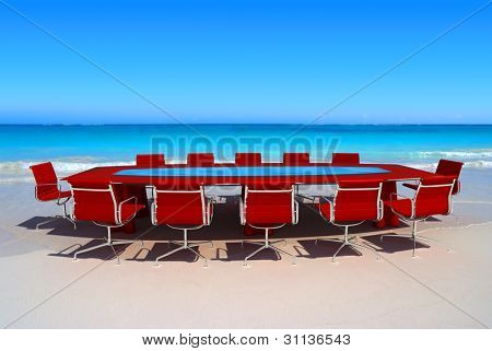 Meeting room by the water in a tropical beach