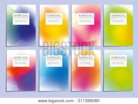Vector Template Covers With Gradient Pattern. Modern Set Of Vector Covers With Gradient Pattern For