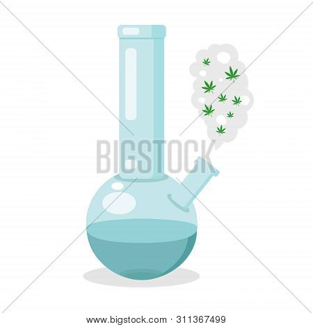 Glass Bong For Smoking. Plastic Blue Bong With Green Cannabis. Modern Flat Style Vector Illustration