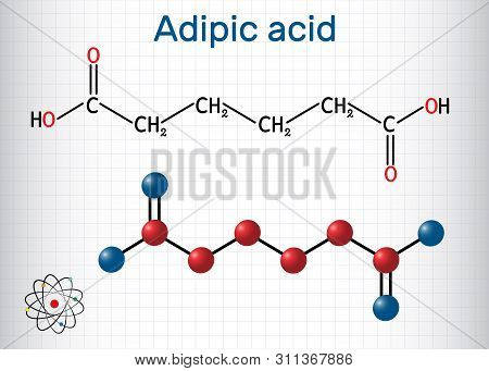 Adipic Acid Or Hexanedioic, Dicarboxylic Acid Molecule. It Is Food Additive E355, Also Is Used As Pr