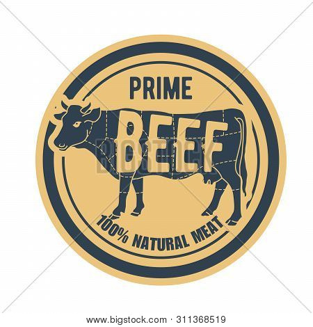Beef Stamp - Label With Cow, Natural Prime Meat Badge