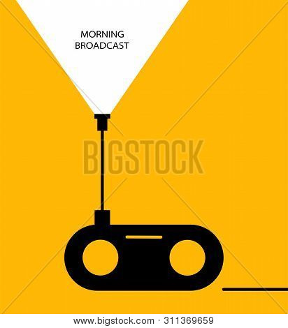 Concept - Morning Broadcast. Flat Linear Design. Radio Icon Vector, Old Retro Receiver Waves, Tuner