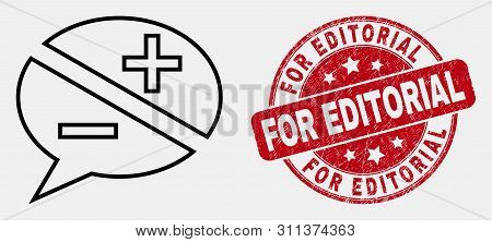 Vector Line Discussion Messages Pictogram And For Editorial Seal. Blue Round Scratched Seal With For