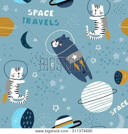 Childish Seamless Pattern With Bear And Cat In Cosmos. Trendy Scandinavian Vector Background. Perfec