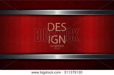 Abstract Red Dark Grooved Design With A Rectangular Frame With A Shiny Border