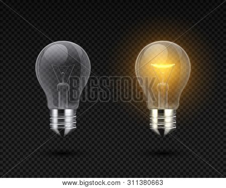 Realistic Light Bulb. Glowing Yellow And White Incandescent Filament Lamps, Electricity On And Of Te
