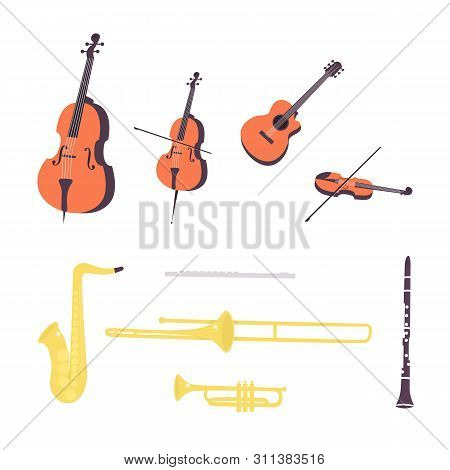 Flat Vector Illustration In A Flat Style Of Set Of Music Instruments,  Clarinet, Saxophone, Trumpet,