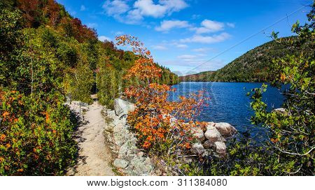 Hiking Path Along Long Pond With Fall Colors In Acadia National Park