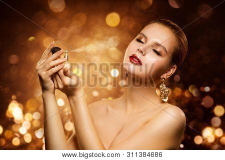 Perfume, Luxury Woman Spraying Fragrance, Aroma And Fashion Model Beauty Portrait